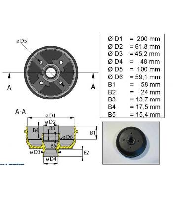 CUBO 200X50 -  4X100 S/ ROLAMENTO
